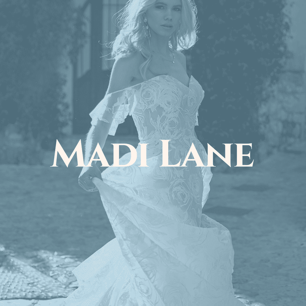 click through image of bride in madi lane dress to learn more about the collection